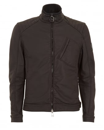 Mens H Racer Black Rubberised Jacket