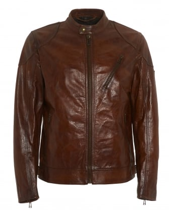 Mens Maxford 2.0 Jacket, Brown Leather Blouson Jacket