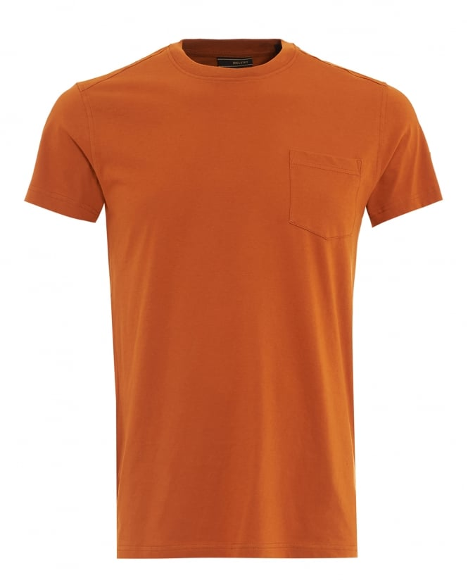 Belstaff Mens New Thom T-Shirt, Dusty Orange Pocket Tee