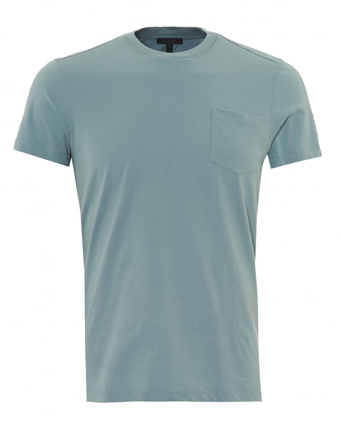Belstaff Mens New Thom T-Shirt, Phoenix Sleeve Logo Light Chambray Blue Tee