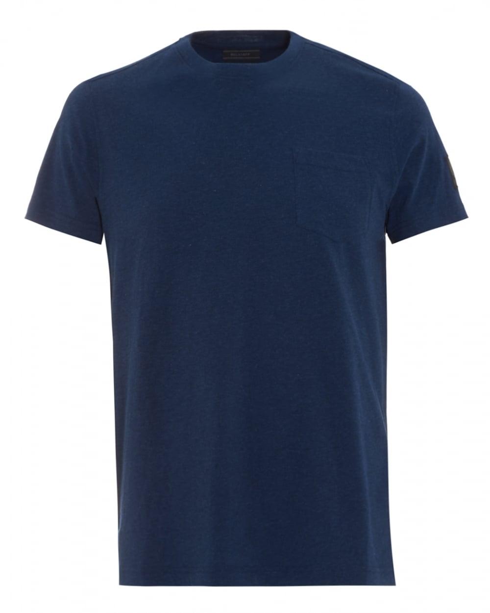 Belstaff Mens New Thom T-Shirt, Plain Navy Blue Bright ...