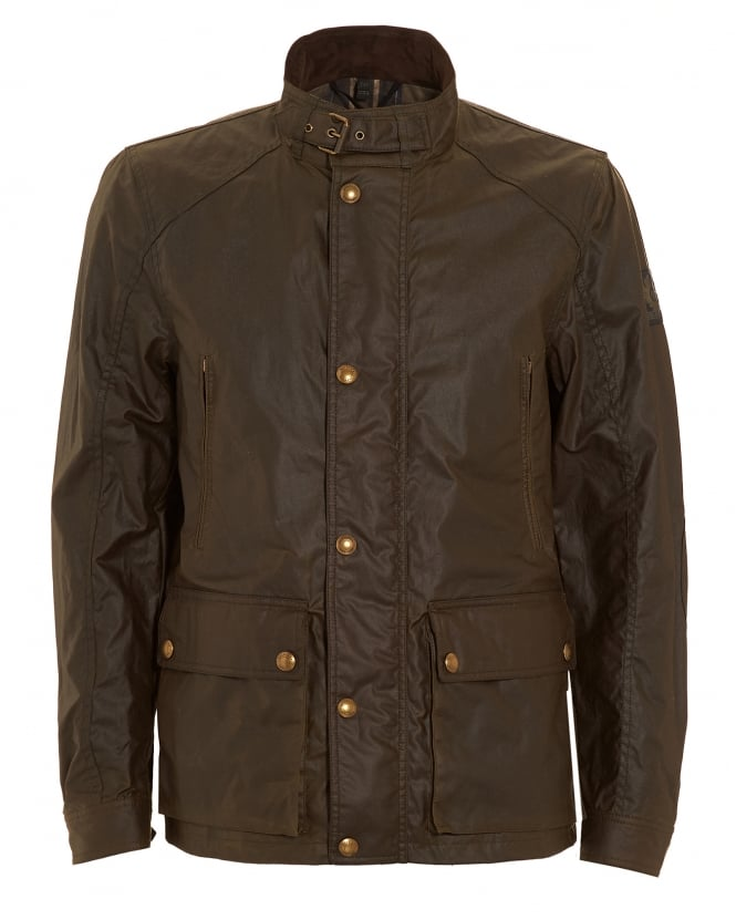 Belstaff Mens New Tourmaster Faded Olive Jacket