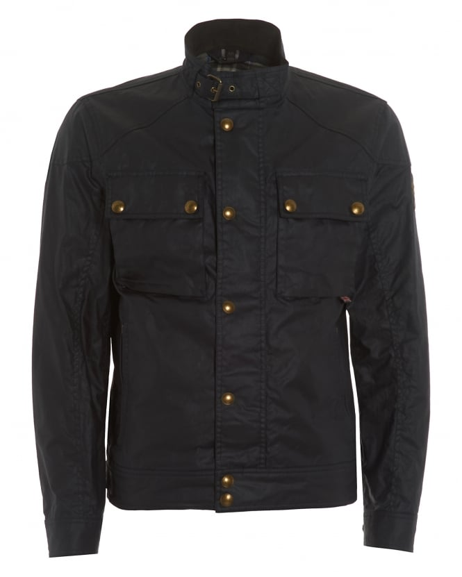 belstaff mens racemaster jacket, navy blue blouson biker jacket
