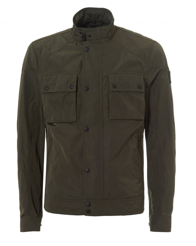 Belstaff Mens Racemaster Nylon Jacket, Graphite Green Biker Jacket