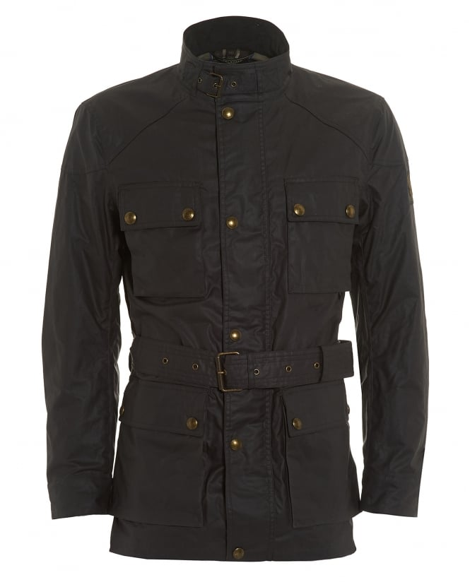 Belstaff Mens Roadmaster Jacket, Grey Longline Belted Wax Jacket