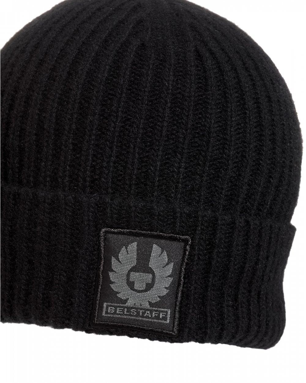 Belstaff Mens Seabrook 2.0 Wool Black Beanie 4a663afdd13