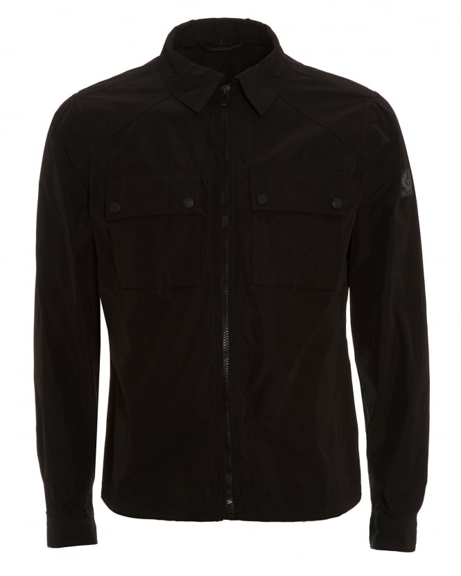 Belstaff Mens Shawbury Jacket, Zip Up Black Overshirt Jacket