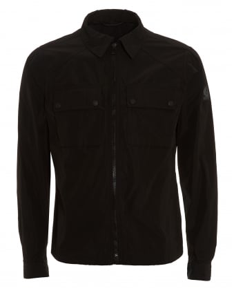 Mens Shawbury Jacket, Zip Up Black Overshirt Jacket