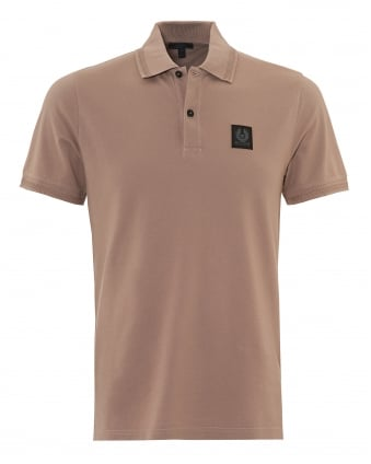Mens Stannett Polo Shirt, Chest Badge Ash Rose Pink Polo