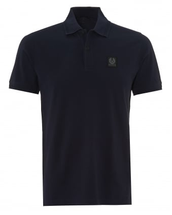 Mens Stannett Polo Shirt, Chest Badge Navy Blue Polo