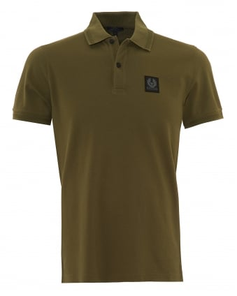Mens Stannett Polo Shirt, Chest Badge Slate Green Polo