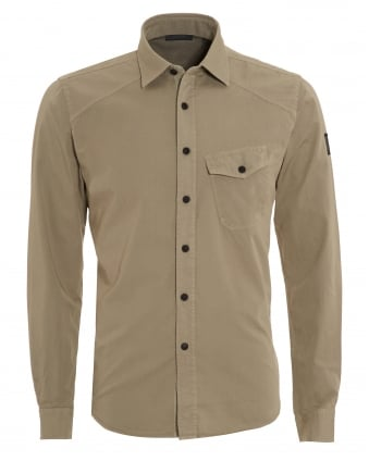 Mens Steadway Shirt, Regular Fit Stone Grey Shirt