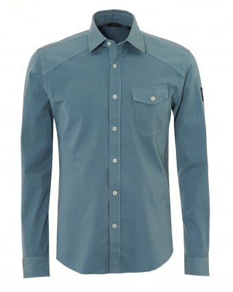 Mens Steadway Shirt, Tilted Chest Pocket Light Chambray Blue Shirt