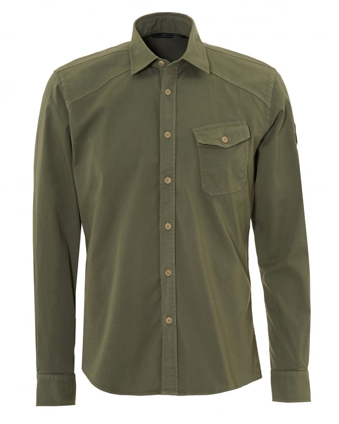 Belstaff Mens Steadway Shirt, Tilted Chest Pocket Slate Green Shirt