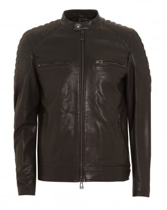 Mens Stoneham Polished Leather Black Jacket