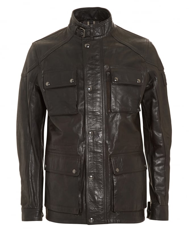Belstaff Mens Trailmaster Black Oiled Suede Jacket