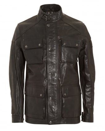Mens Trailmaster Black Oiled Suede Jacket