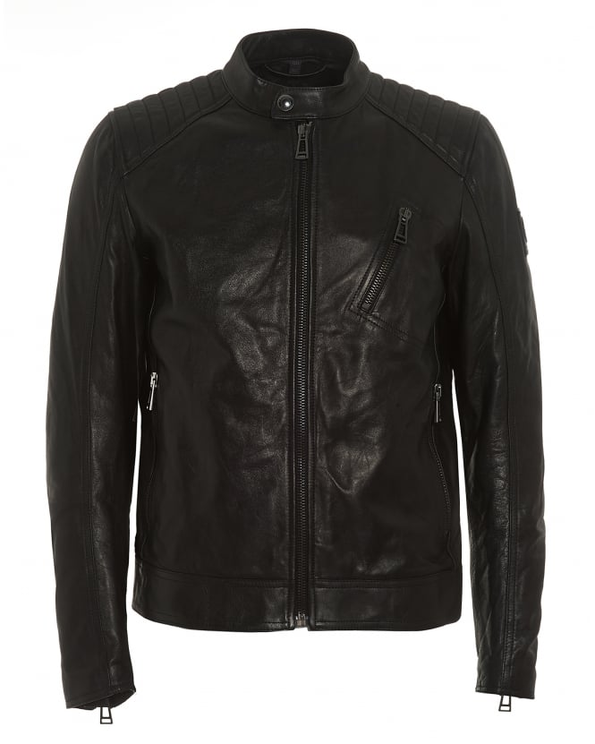 Belstaff Mens V Racer Jacket, Black Leather Corrugated Shoulder Jacket