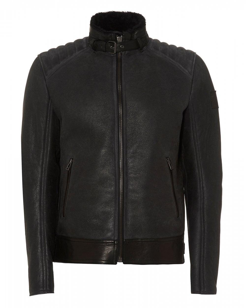 Belstaff Mens Westlake Shearling Zinc Leather Jacket