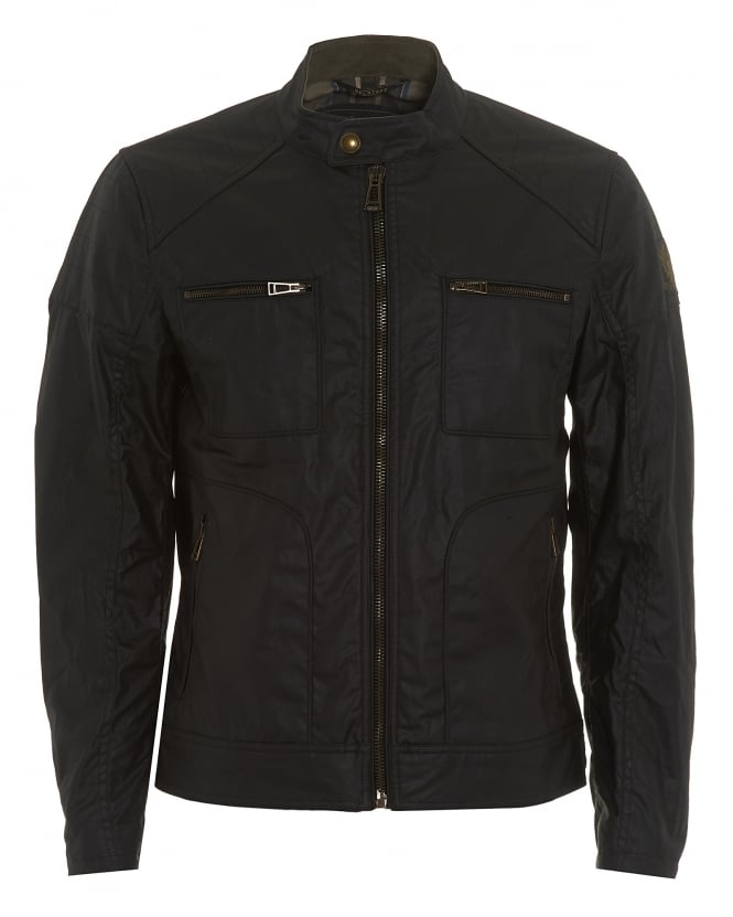 Belstaff Mens Weybridge Jacket, Black Waxed Jersey Jacket