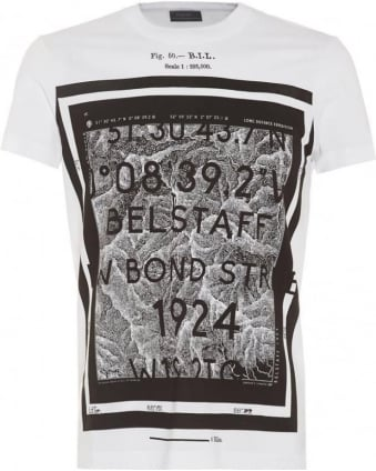 Tanner T-Shirt Mens Graphic Print Map White Tee