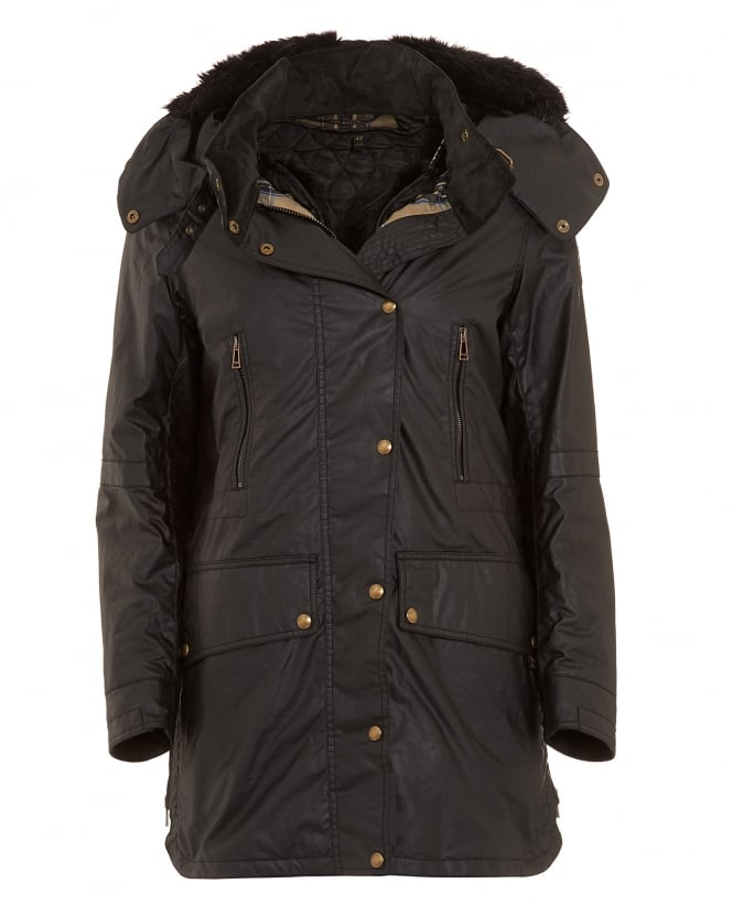Belstaff Womens CT Master Black Waxed Parka Coat