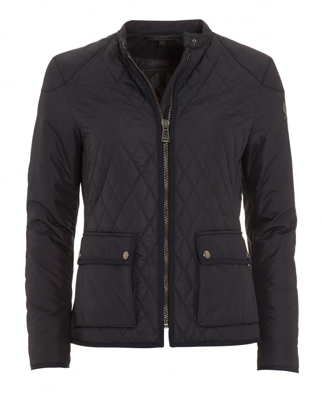 Belstaff Womens Randall Navy Blue Quilted Jacket