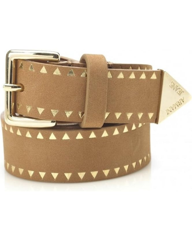 Armani Jeans Belt, Biscuit and Gold Nubuck Geometric Belt