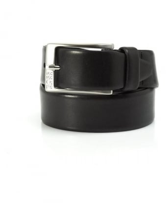 Belt, Black Leather 'Eberio' Business Belt