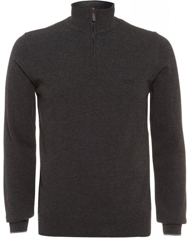 Hugo Boss Black Benders-E Sweater, Charcoal Grey Funnel Neck Jumper