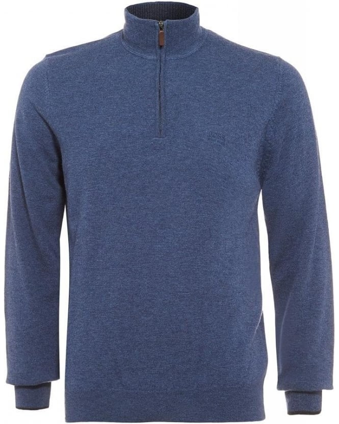 Hugo Boss Black Benders-E Sweater, Denim Blue Funnel Neck Jumper