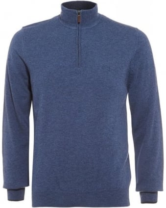 Benders-E Sweater, Denim Blue Funnel Neck Jumper