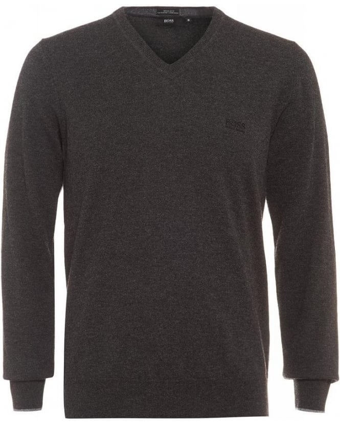 Hugo Boss Black Bengo-E Sweater, Charcoal V-Neck Jumper