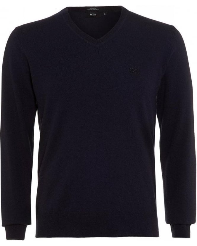 Hugo Boss Black Bengo-E Sweater, Navy V-Neck Jumper