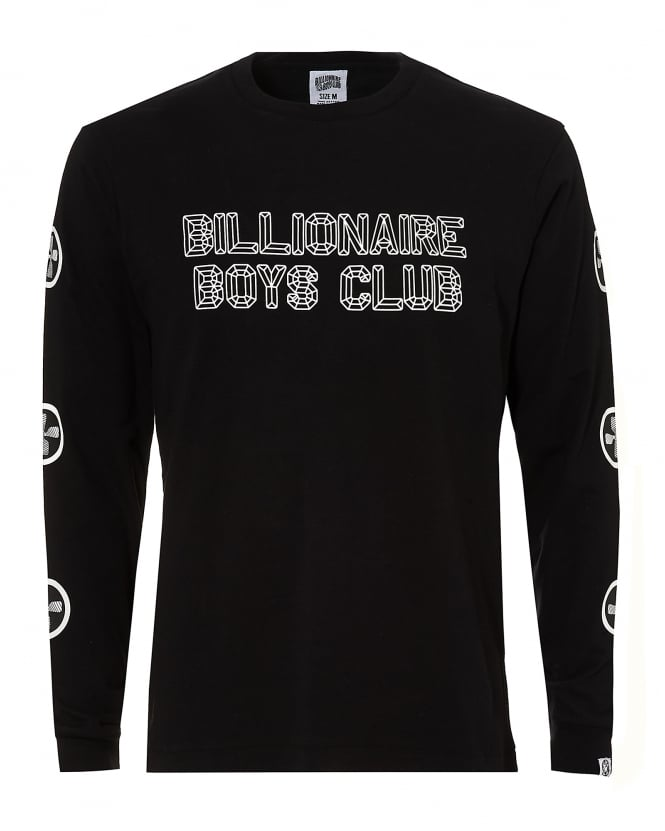 Billionaire Boys Club Mens Back Skyscraper Print, Long Sleeve Black Tee