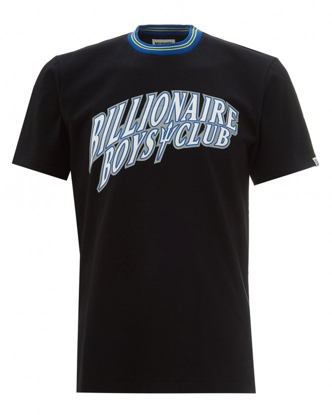 Billionaire Boys Club Mens Basketball Logo T-Shirt, Black Striped Neck Tee