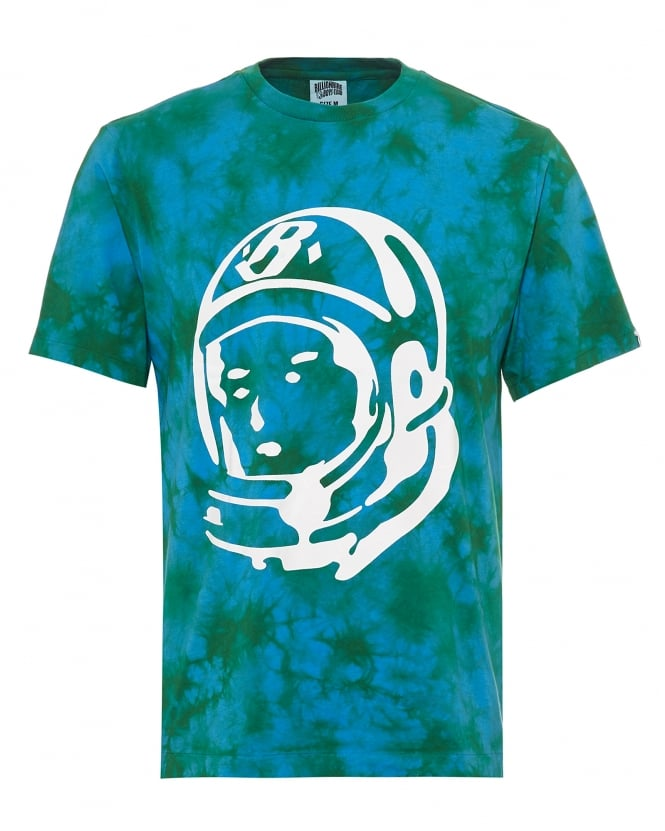 Billionaire Boys Club Mens Bleached Effect T-Shirt, Astronaut Logo Olive Green Tee