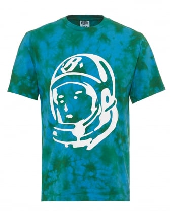 Mens Bleached Effect T-Shirt, Astronaut Logo Olive Green Tee