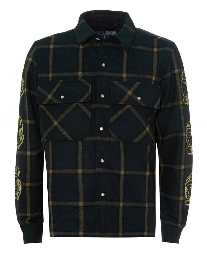 Billionaire Boys Club Mens Checked Overshirt, Green Flannel Jacket