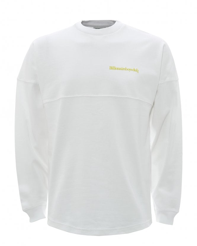 Billionaire Boys Club Mens Chest Logo Long Sleeved T-Shirt, White Tee