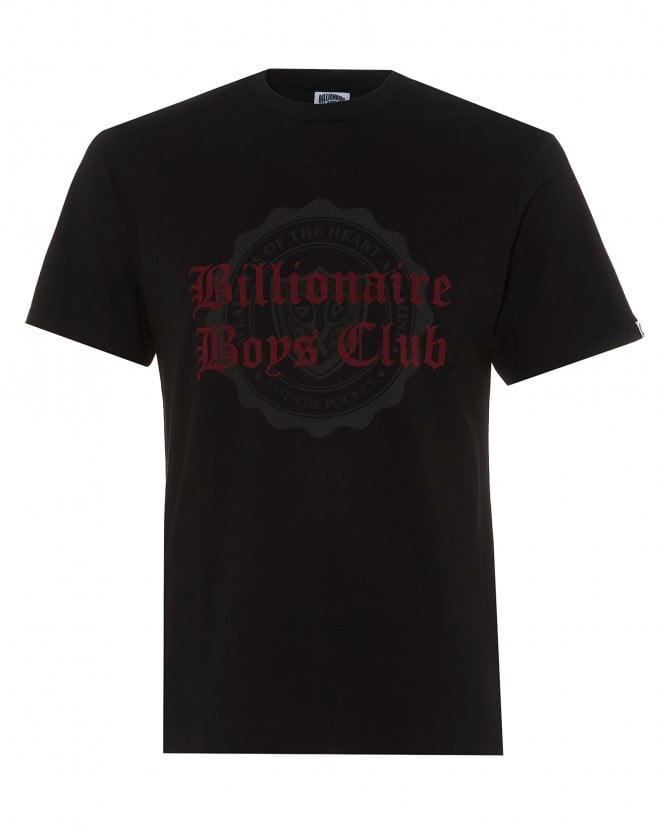 Billionaire Boys Club Mens College Flock T-Shirt, Black Tee