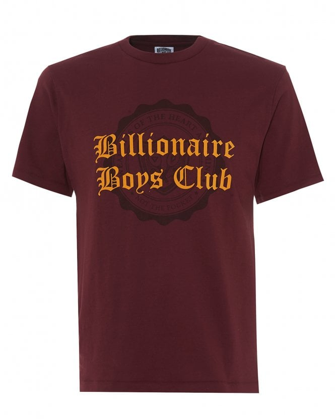 Billionaire Boys Club Mens College Flock T-Shirt, Burgundy Red Tee