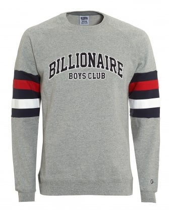 Mens College Sweatshirt, Arm Banded Grey Sweat