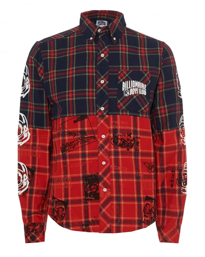 Billionaire Boys Club Mens Cut & Sew Shirt, Navy Red Mutli Tartan Shirt