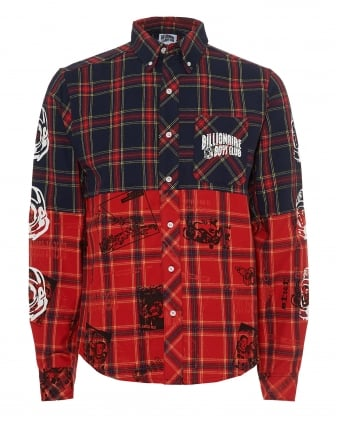 Mens Cut & Sew Shirt, Navy Red Mutli Tartan Shirt