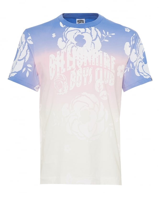 Billionaire Boys Club Mens Dip Dye Effect T-Shirt, Rose Logo White Tee