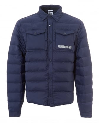 Mens Down Quilt Overshirt, Press Stud Navy Jacket