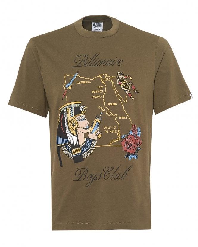 Billionaire Boys Club Mens Egypt Souvenir Map T-Shirt, Olive Green Tee