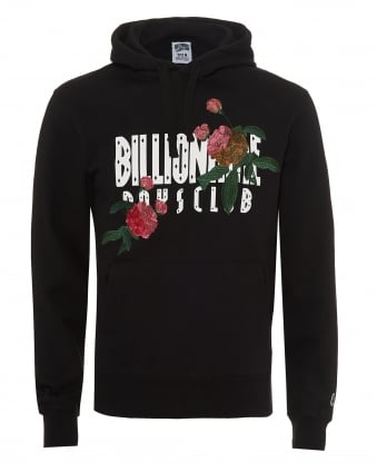 Mens Embroidered Florals Overhead Hoodie, Straight Logo Black Sweat