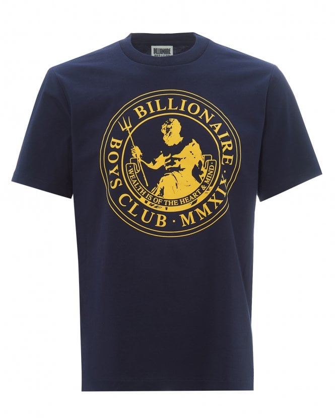 Billionaire Boys Club Mens Flock Print Poseidon T-Shirt, Navy Tee